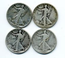 (20) Early Walking Liberty Half Dollars