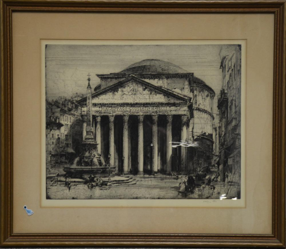 Important Hedley Fitton Artist Proof Etching Pantheon