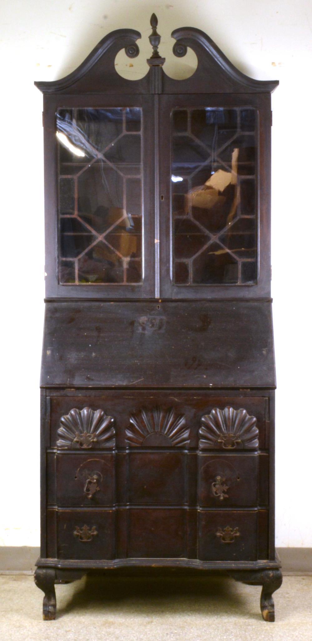 Mahogany Chippendale Style Secretary Bookcase