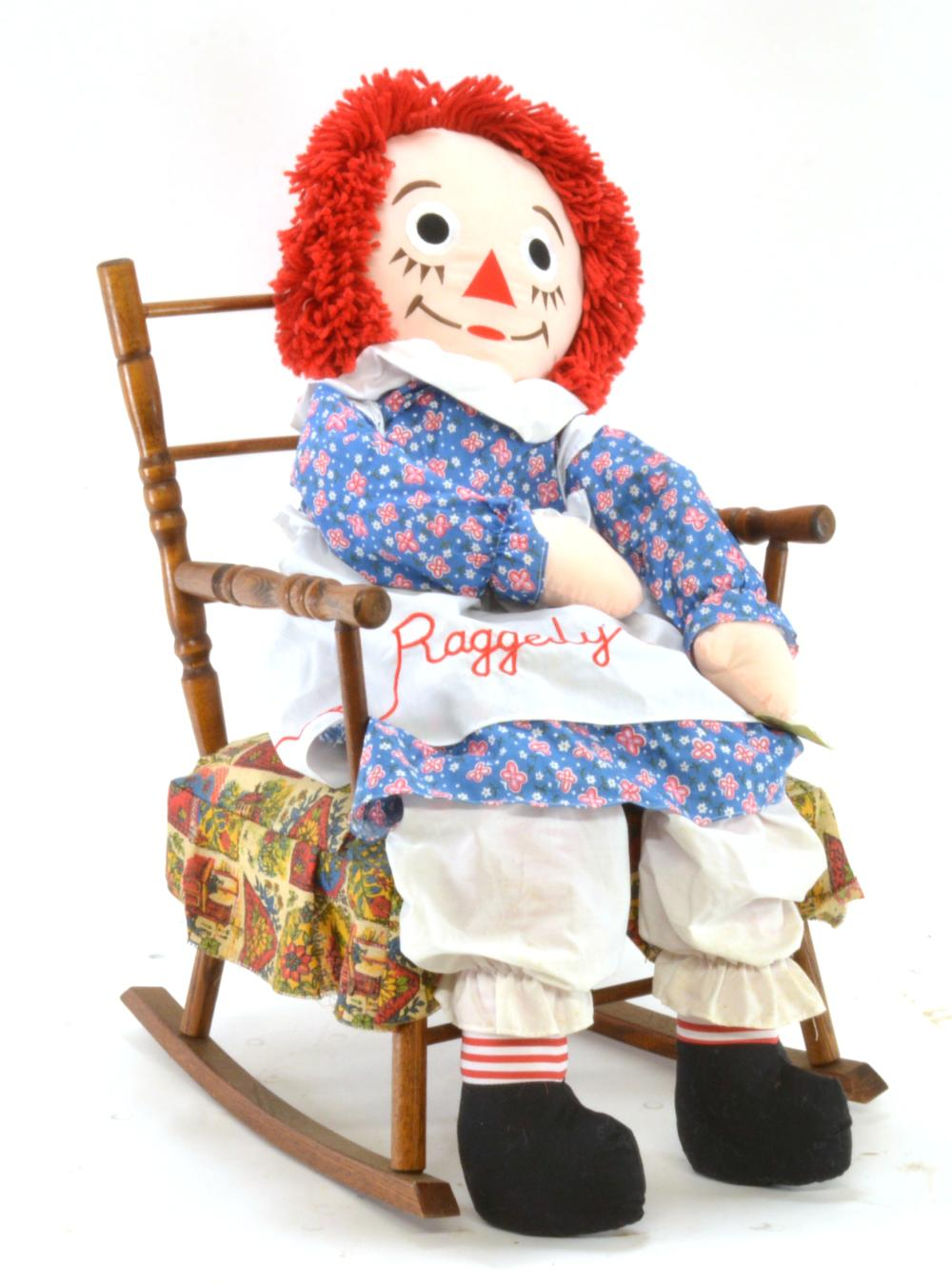 Vintage Childs Rocker And Raggedy Ann Doll