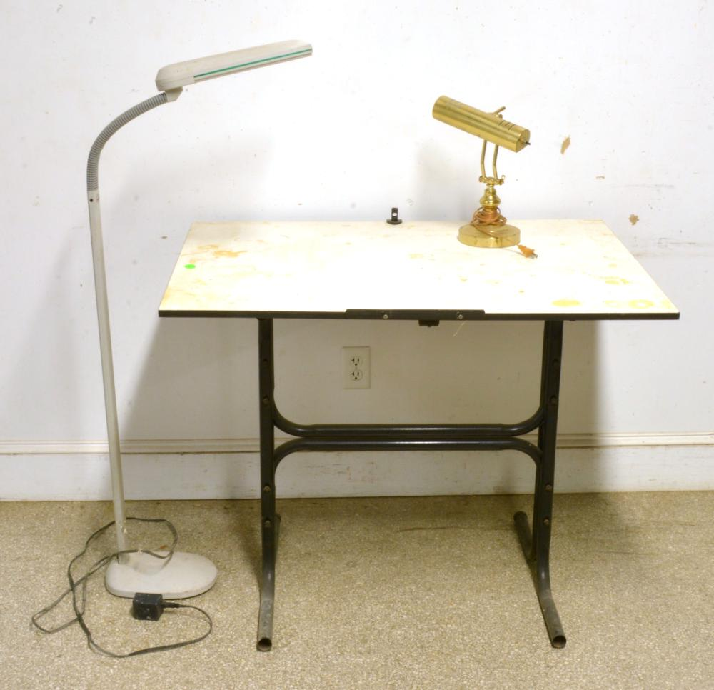 Mid Century Drafting Table And Lighting Lot