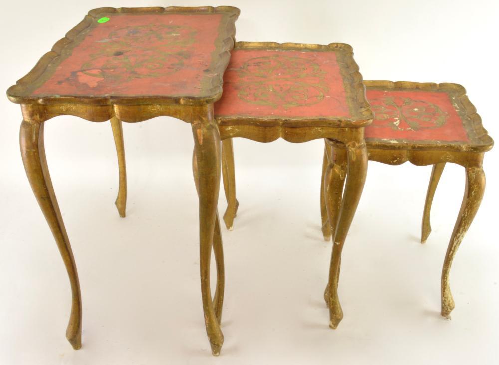 Mid Century Florentine Italy Nesting Tables