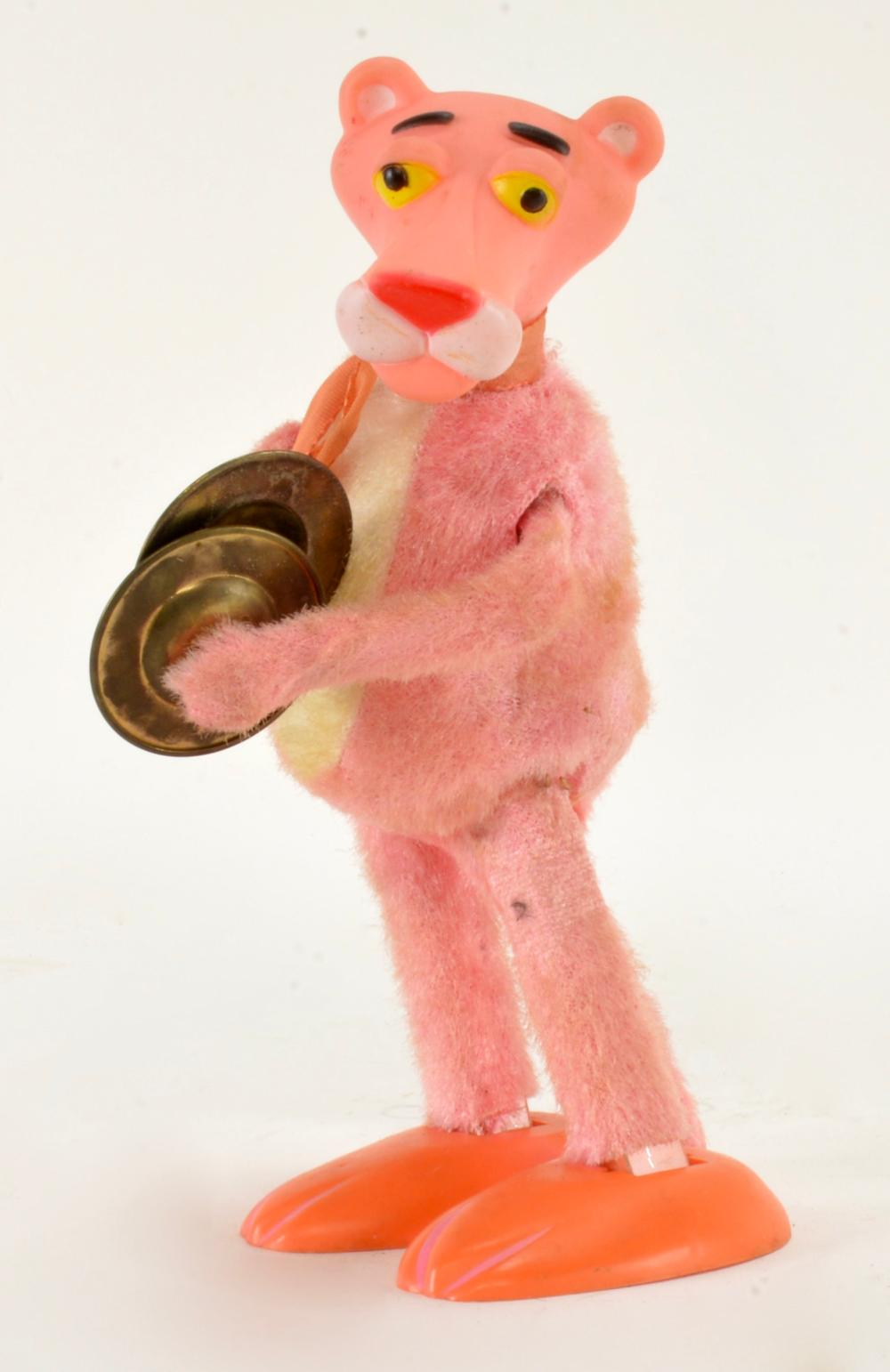 Vintage Pink Panther Tambourine Wind Up Toy