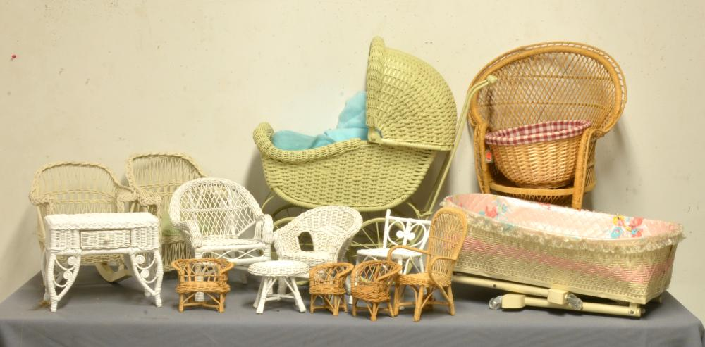 Vintage Doll Furniture And Accessories Group Lot