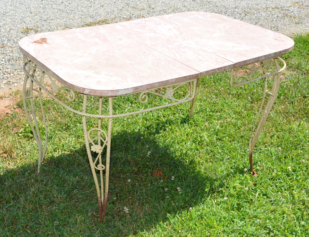 Vintage Wrought Iron Patio Dining Table