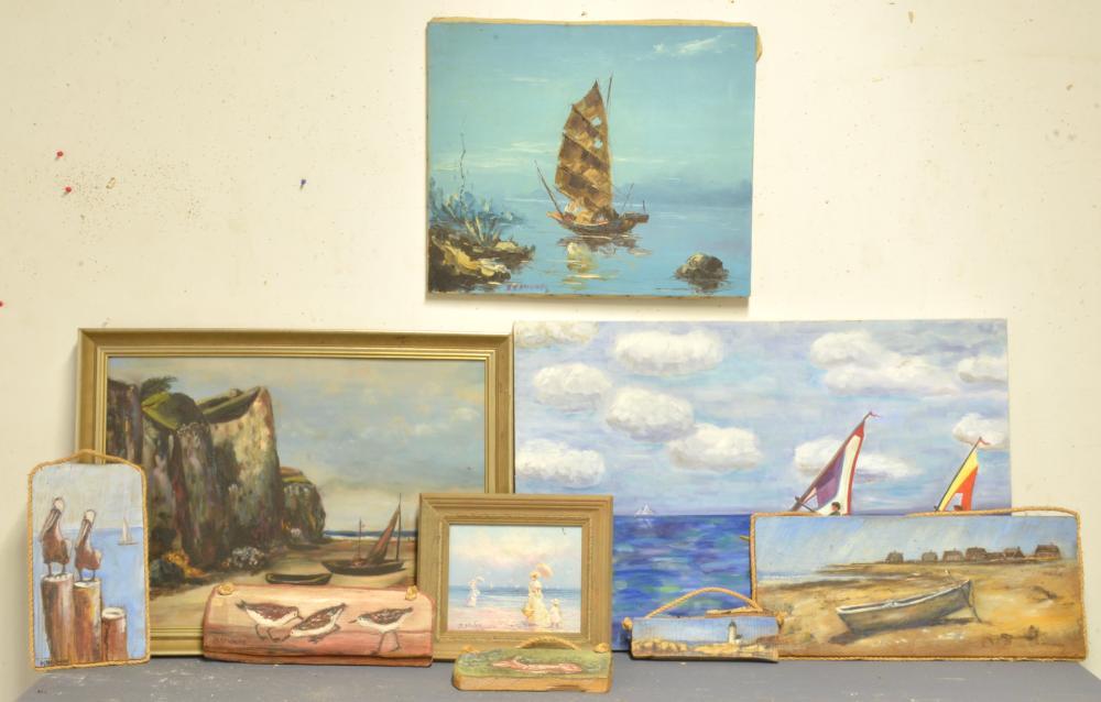 Antique Estate Art Paintings Group Lot Collection