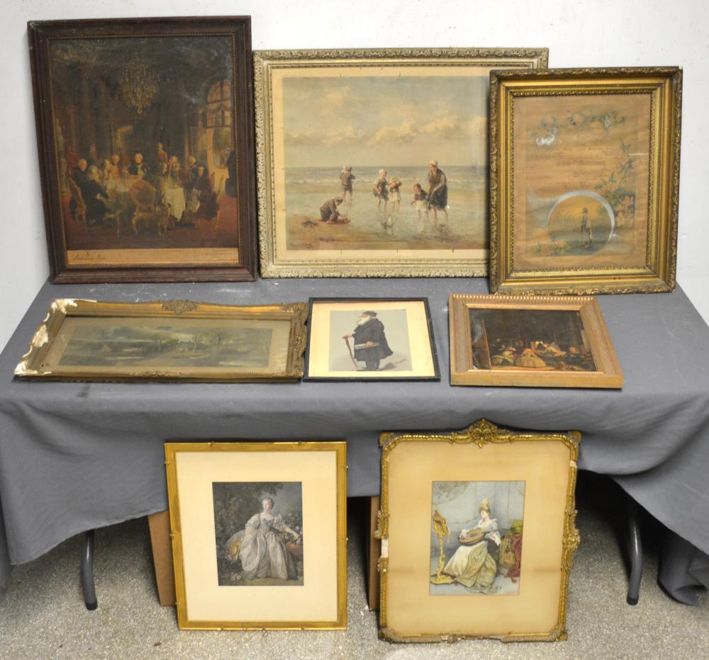 Antique Estate Art Prints Group Lot Collection