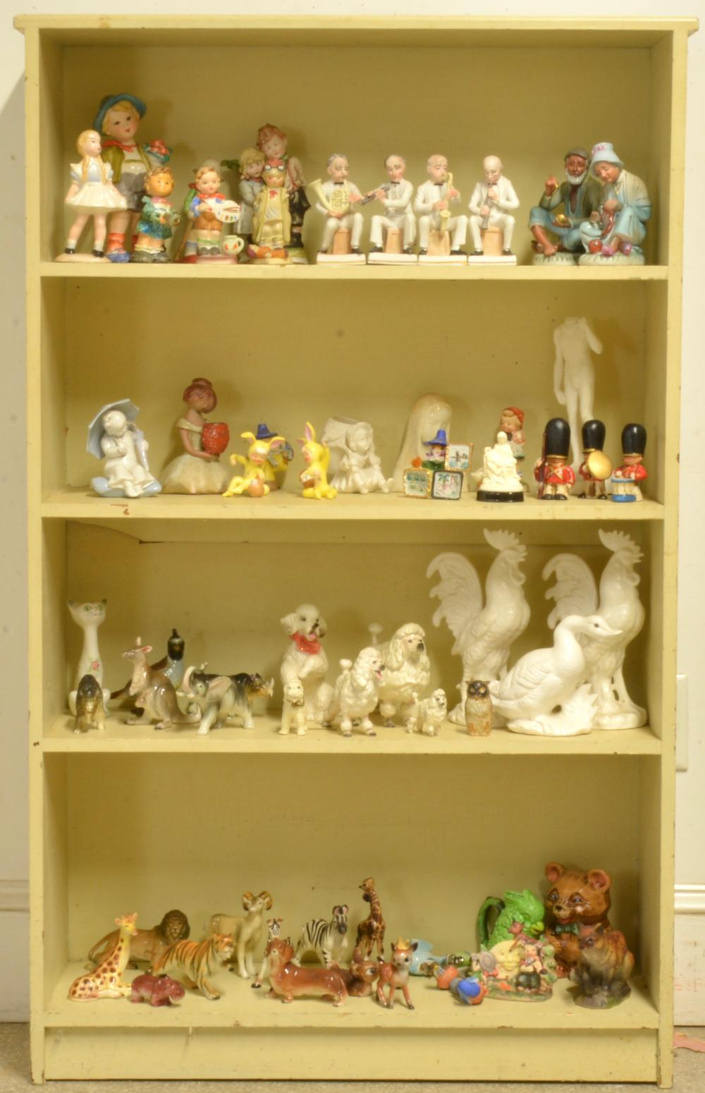 Vintage Bookcase With Figurine Collection