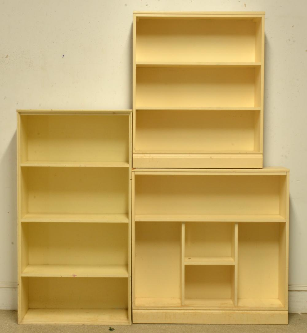 (3) Vintage Painted Wooden Bookcases