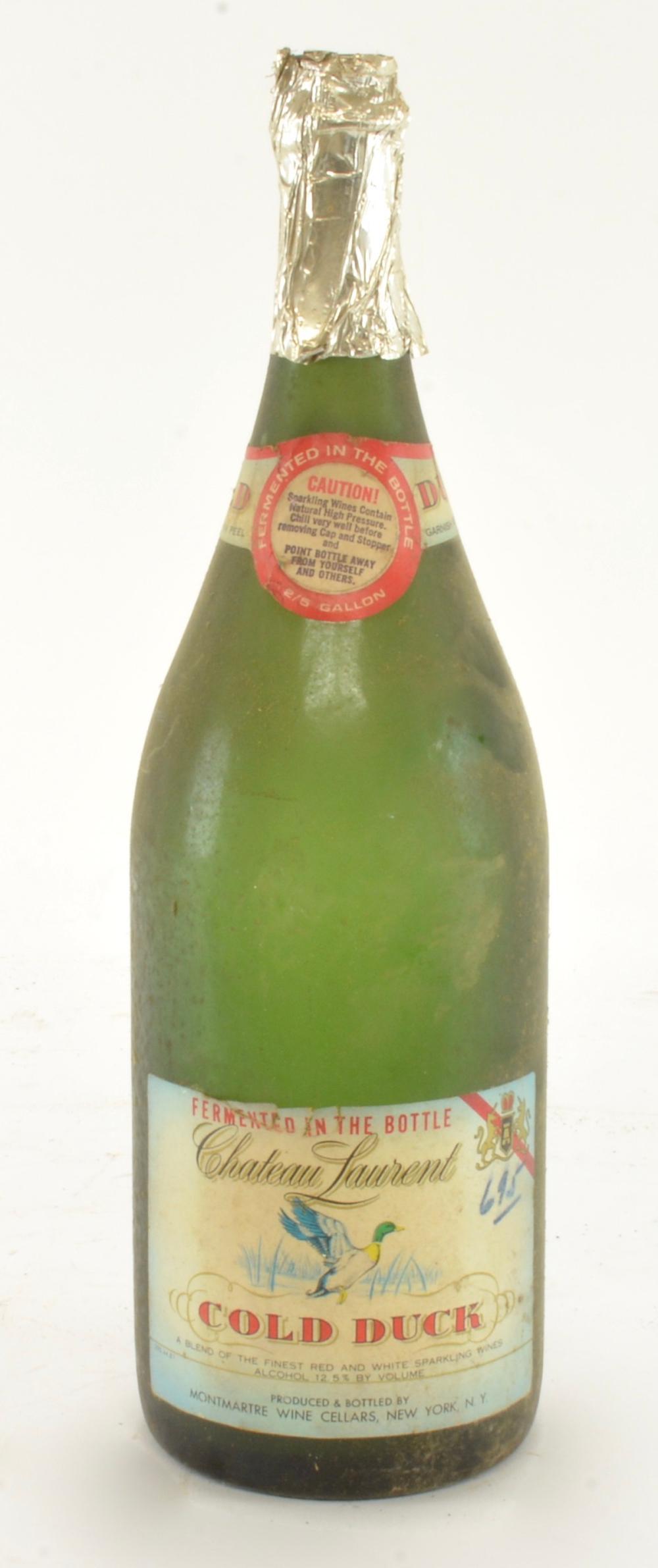 Vintage Chateau Laurent Cold Duck Wine Bottle