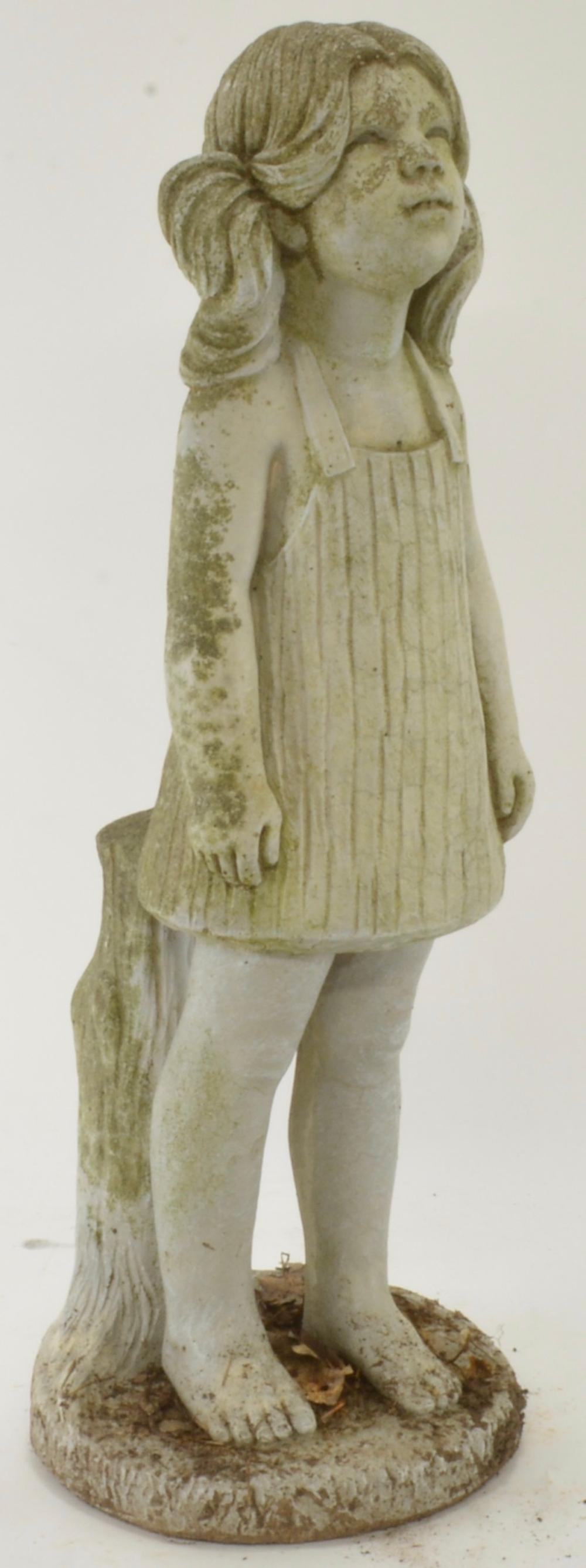 Vintage Stone Casting Young Girl Garden Statue