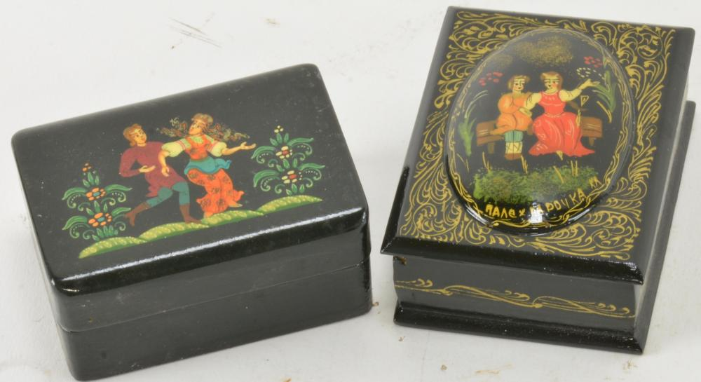 Vintage Black Lacquered Russian Painted Boxes