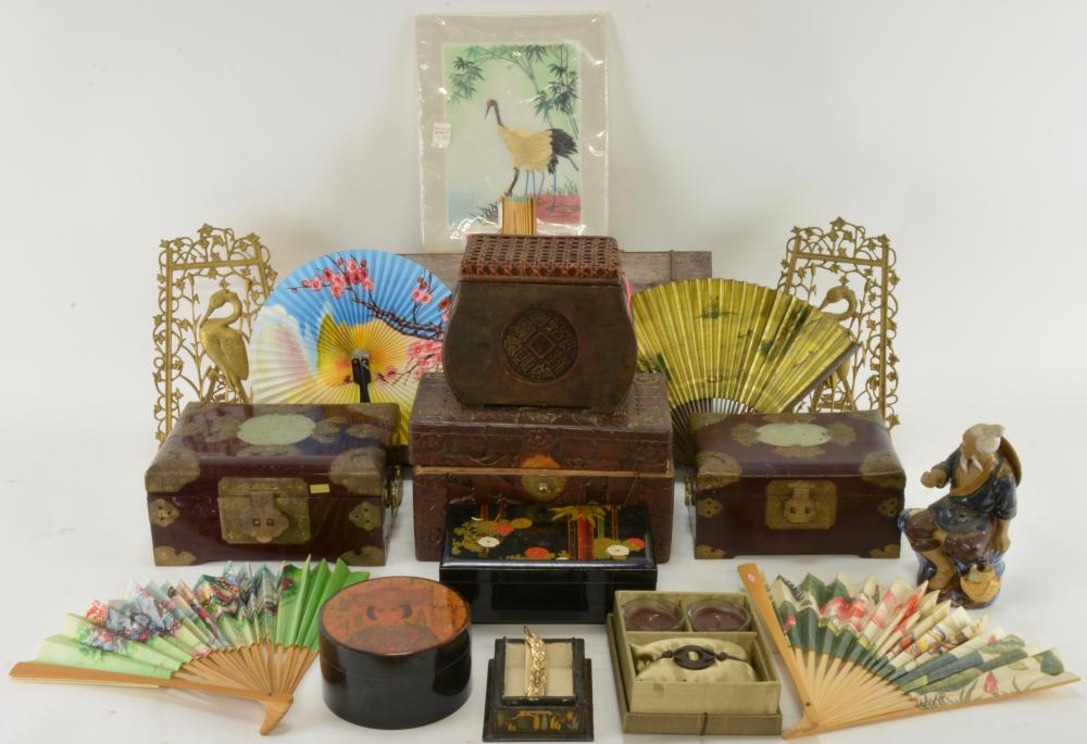 Vintage Asian Wood Brass Pottery Estate Collection