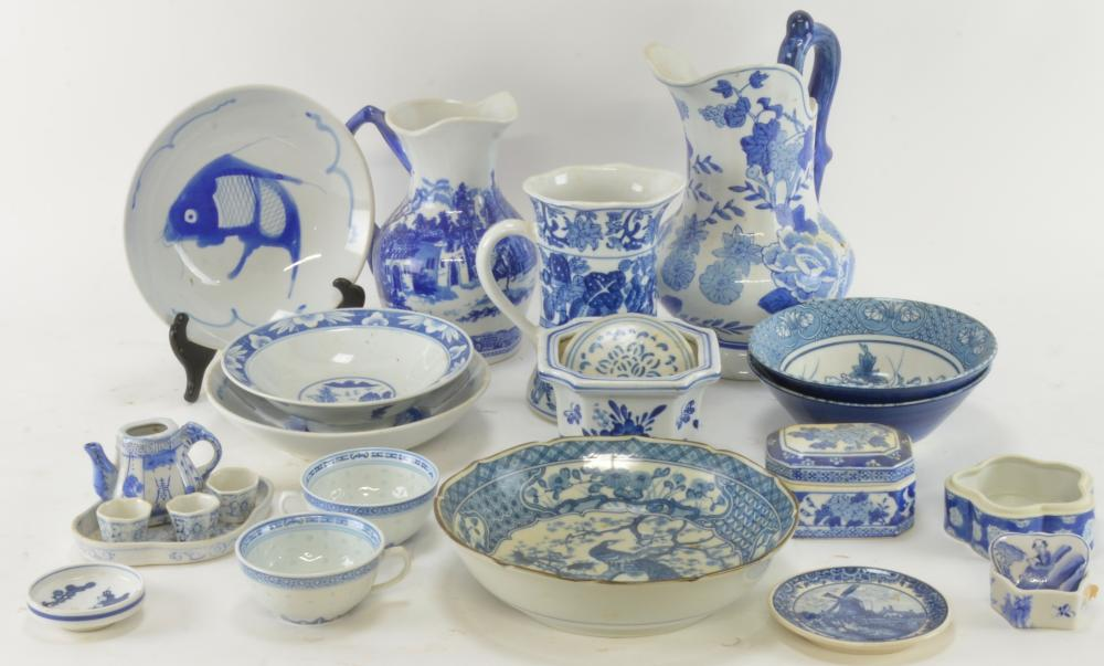 Vintage Asian Blue And White Porcelain Estate Collection