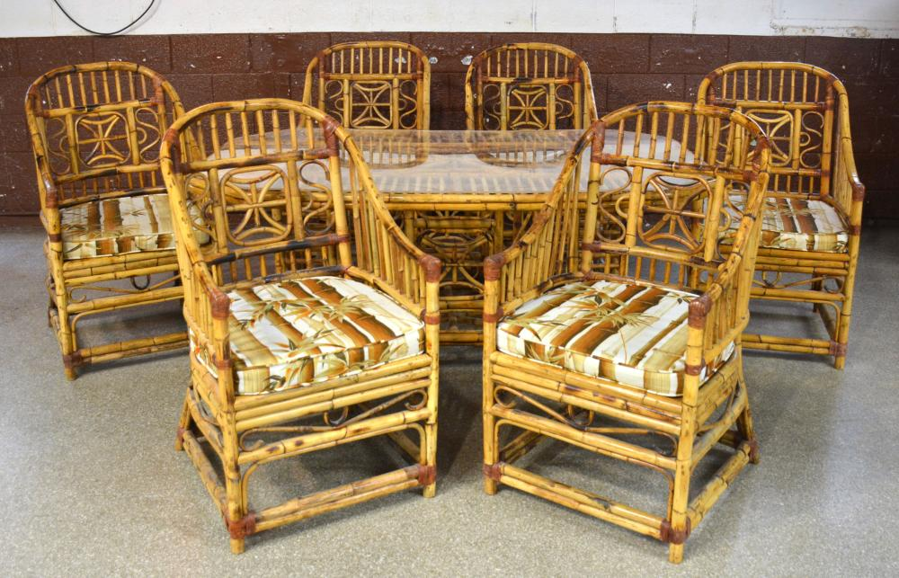 Vintage Philippines Bamboo Furniture Dining Table And Chairs