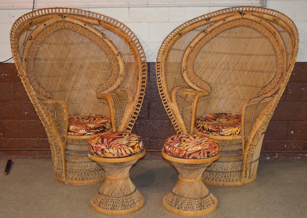 Vintage Philippines Peacock Rattan Plantation Chairs