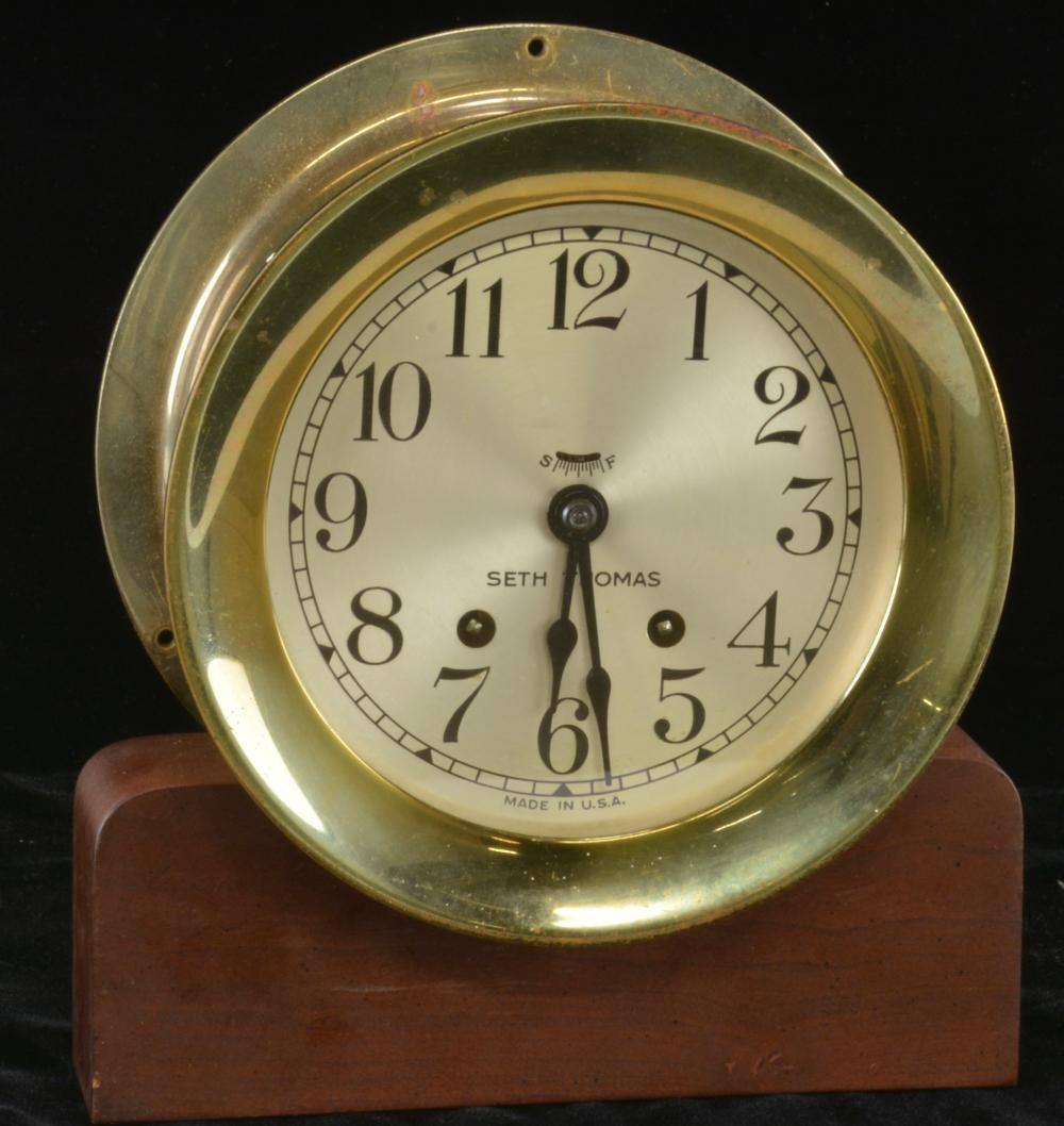 Vintage Seth Thomas Ships Bell-6 Brass Clock