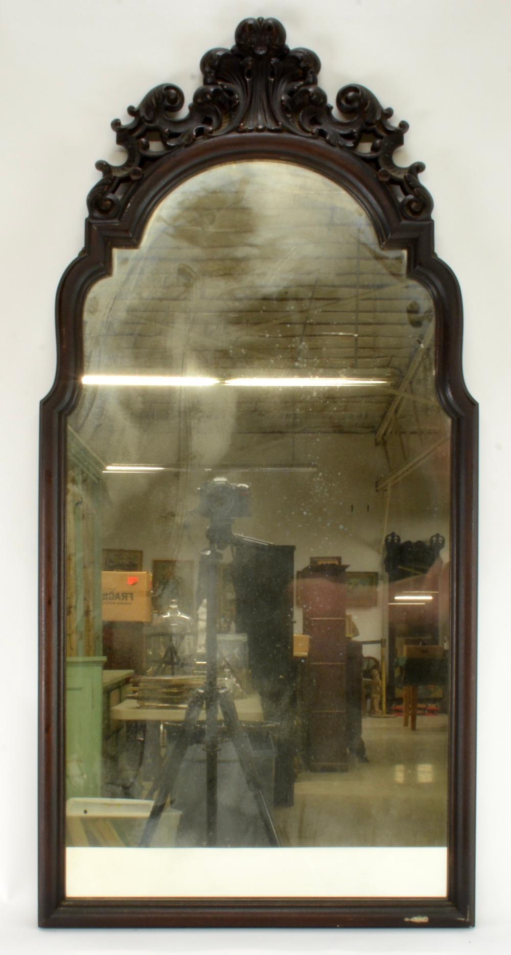 Antique Carved Mahogany Wall Mirror