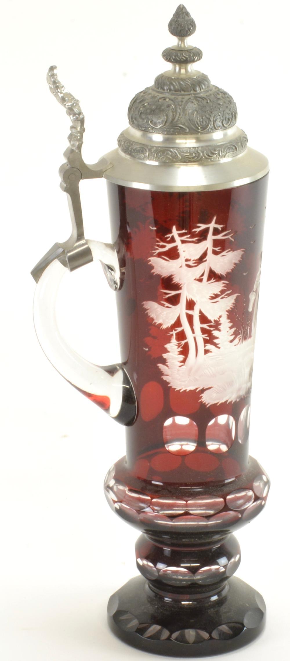 Vintage Bohemian Ruby Cut To Clear Beer Stein
