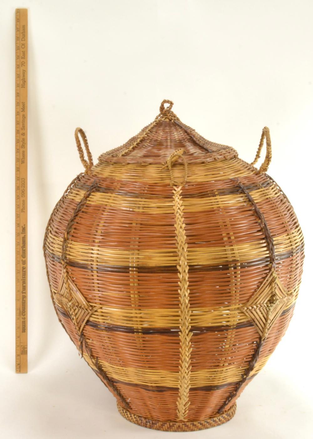 Vintage Filipino Woven Rattan Storage Basket