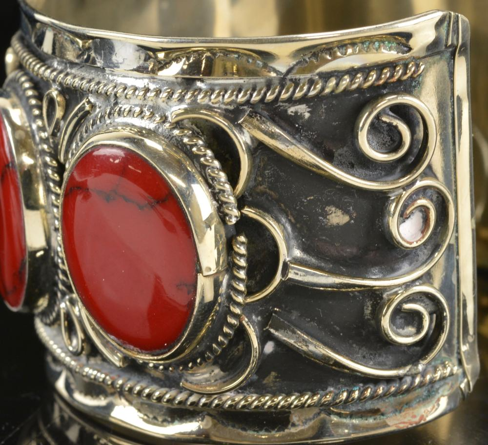 STERLING HUGE RED Jasper Cuff Links-Vintage Antique 925 Silver-Chunky Southwest Blood Stone Rock-Giant Large Big-Hinged Cuff Links-Oval Eggs