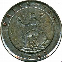 1797, Great Britain, Cartwheel, Two Pence, Two Ounce Copper