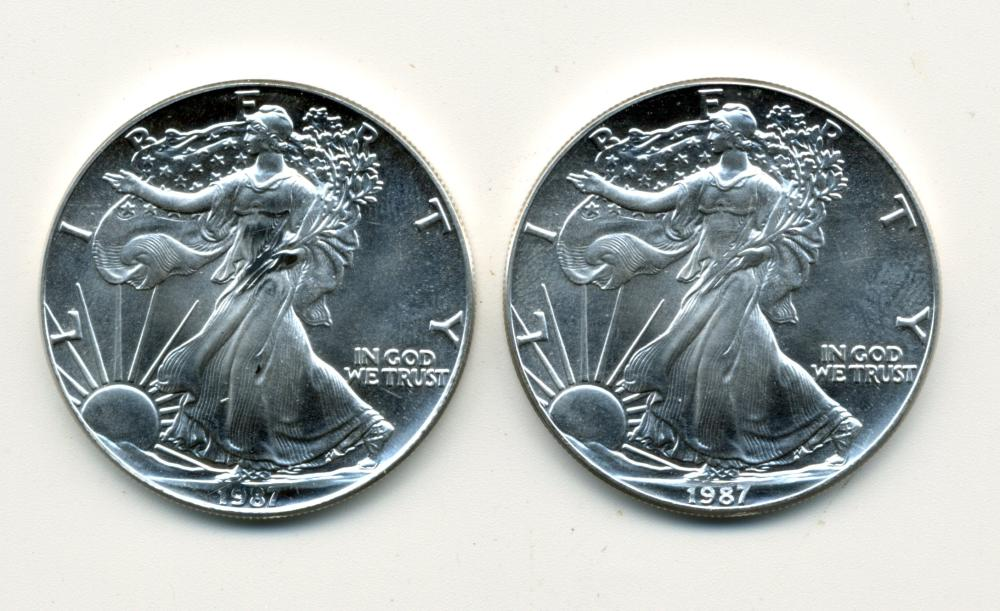 (2) 1987 American Silver Eagle Dollars