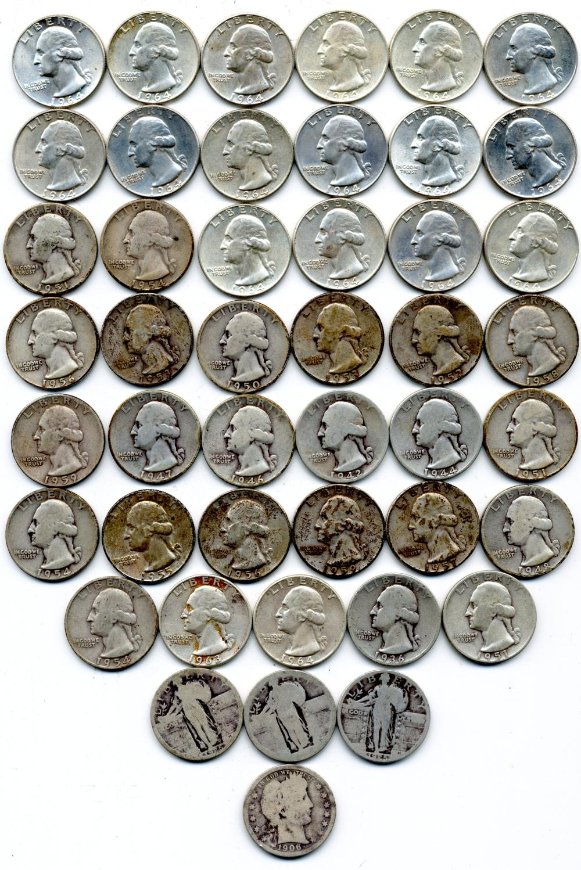 $11.25 Face Value U.S. Quarters Barber Standing Washington
