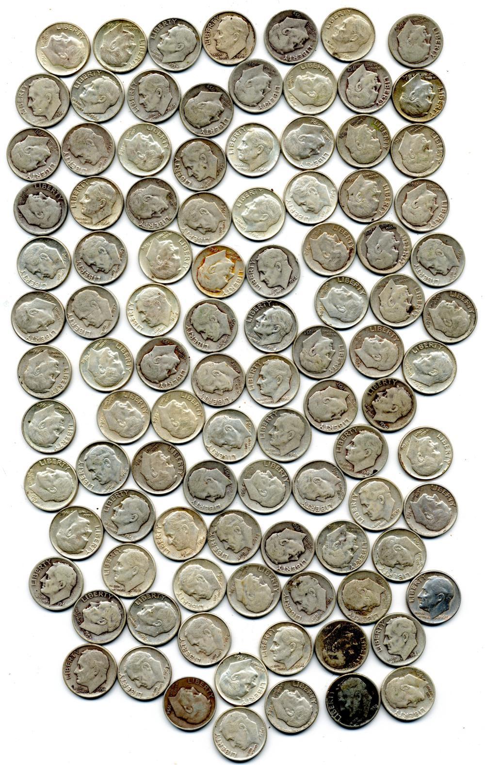 $10.00 Face Value U.S. Silver Roosevelt Dimes