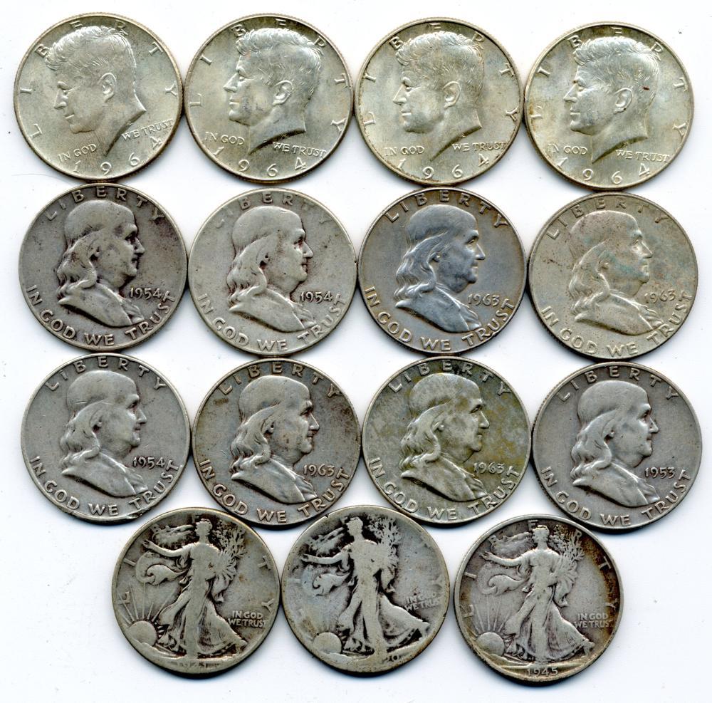 $7.50 Face Value U.S. Silver Half Dollars