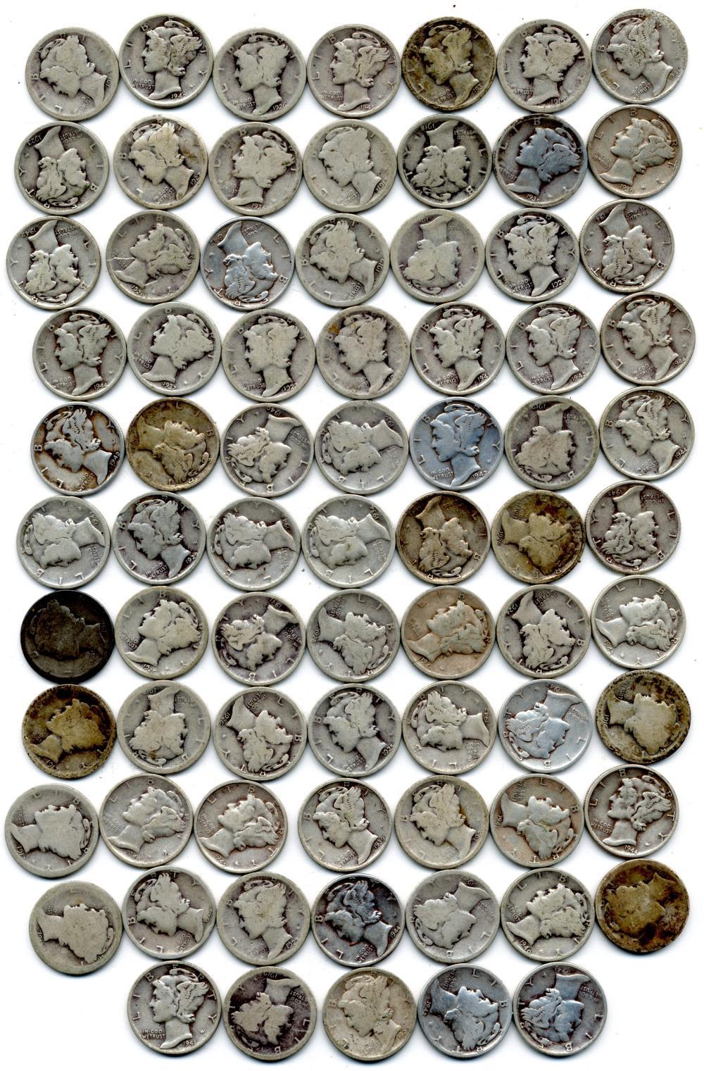 $7.50 Face Value U.S. Silver Mercury Dimes