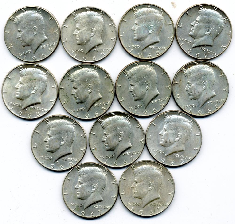 $6.50 Face Value U.S. 40% Silver Kennedy Half Dollars