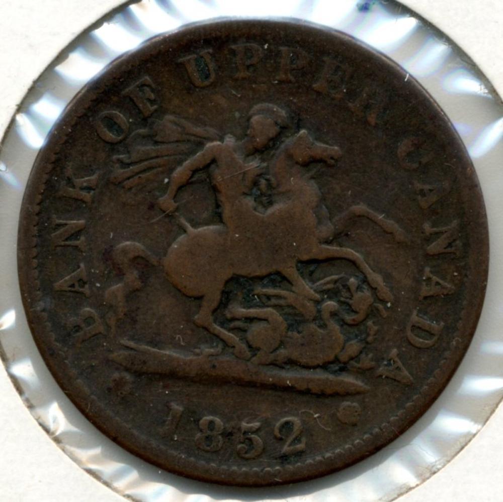 1852 Bank Of Upper Canada One Penny Bank Token