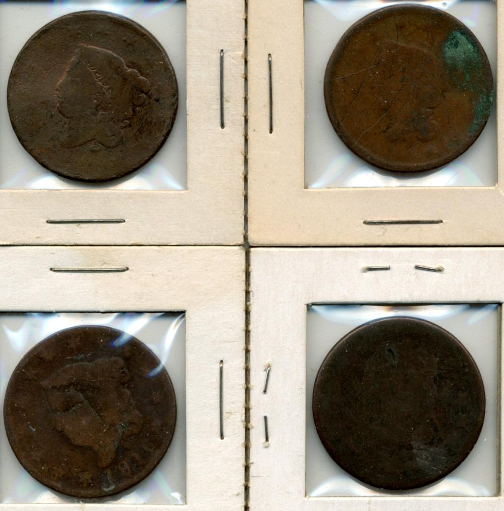 (4) Early U.S. Early Large Cents