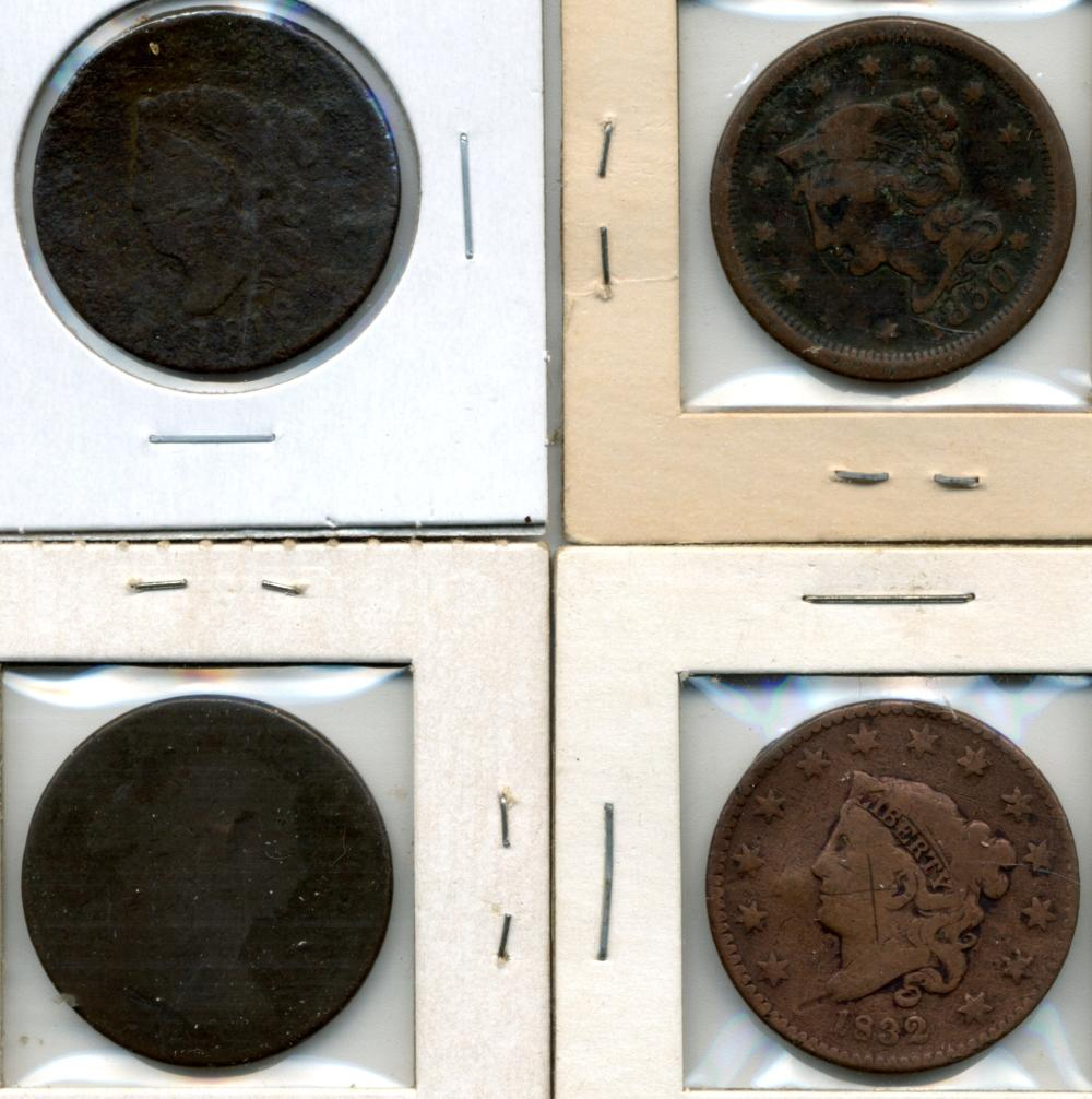 (4) Original U.S. Early Large Cents