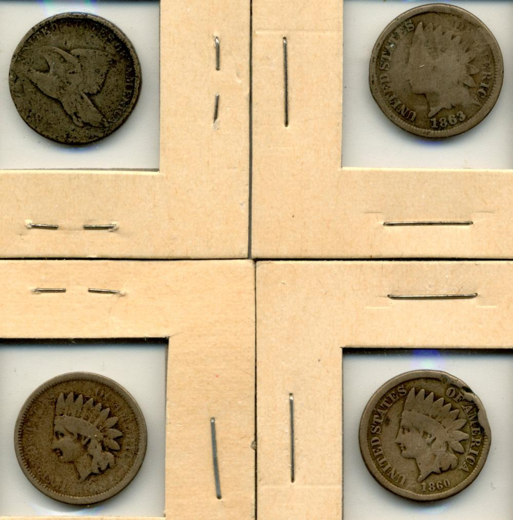 (4) Original U.S. Flying Eagle & Indian Cents