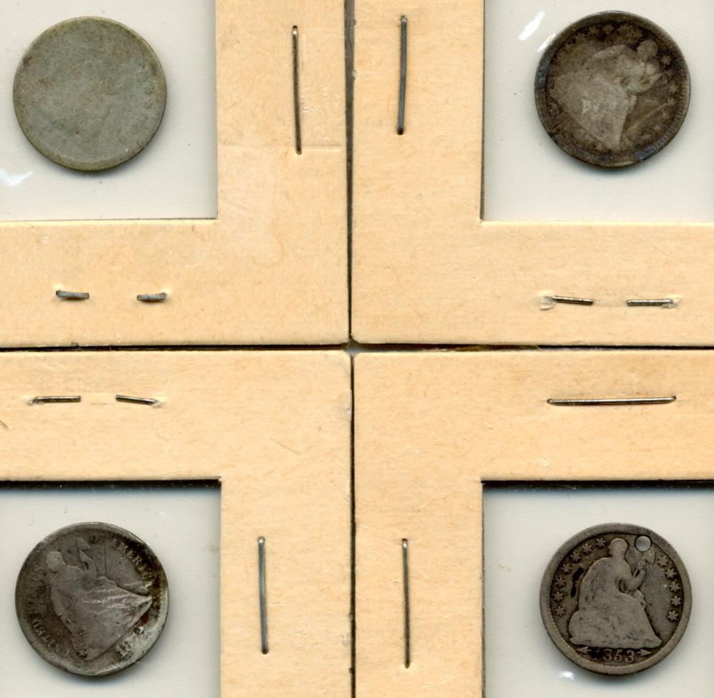 (4) Original U.S. Seated Liberty Half Dimes