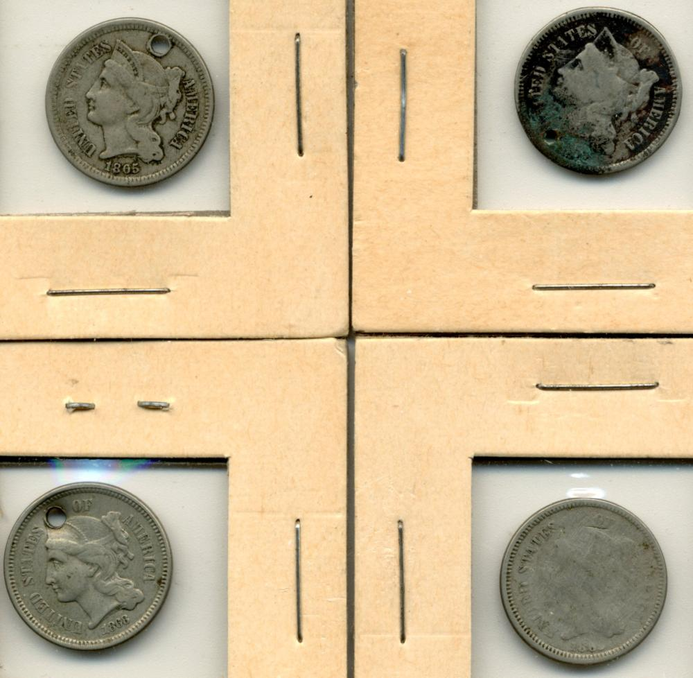 (4) Original U.S. Three Cent Nickels