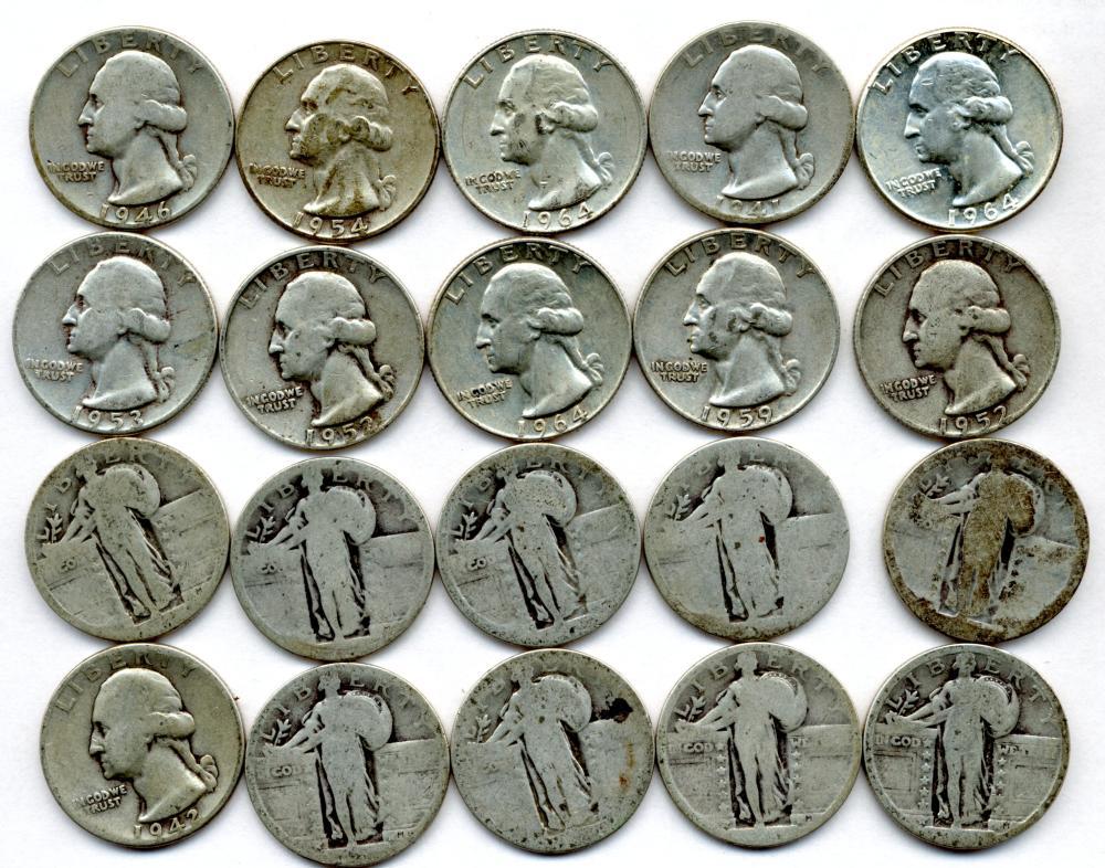 $5.00 Face Value U.S. Silver Quarters