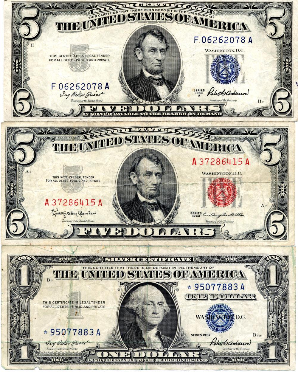 (3) Original U.S. Currency Notes