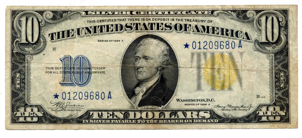 1934 $10.00 Silver Certificate North Africa Star Note