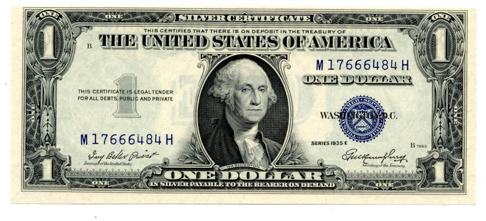 1935 E $1.00 Silver Certificate Note Uncirculated