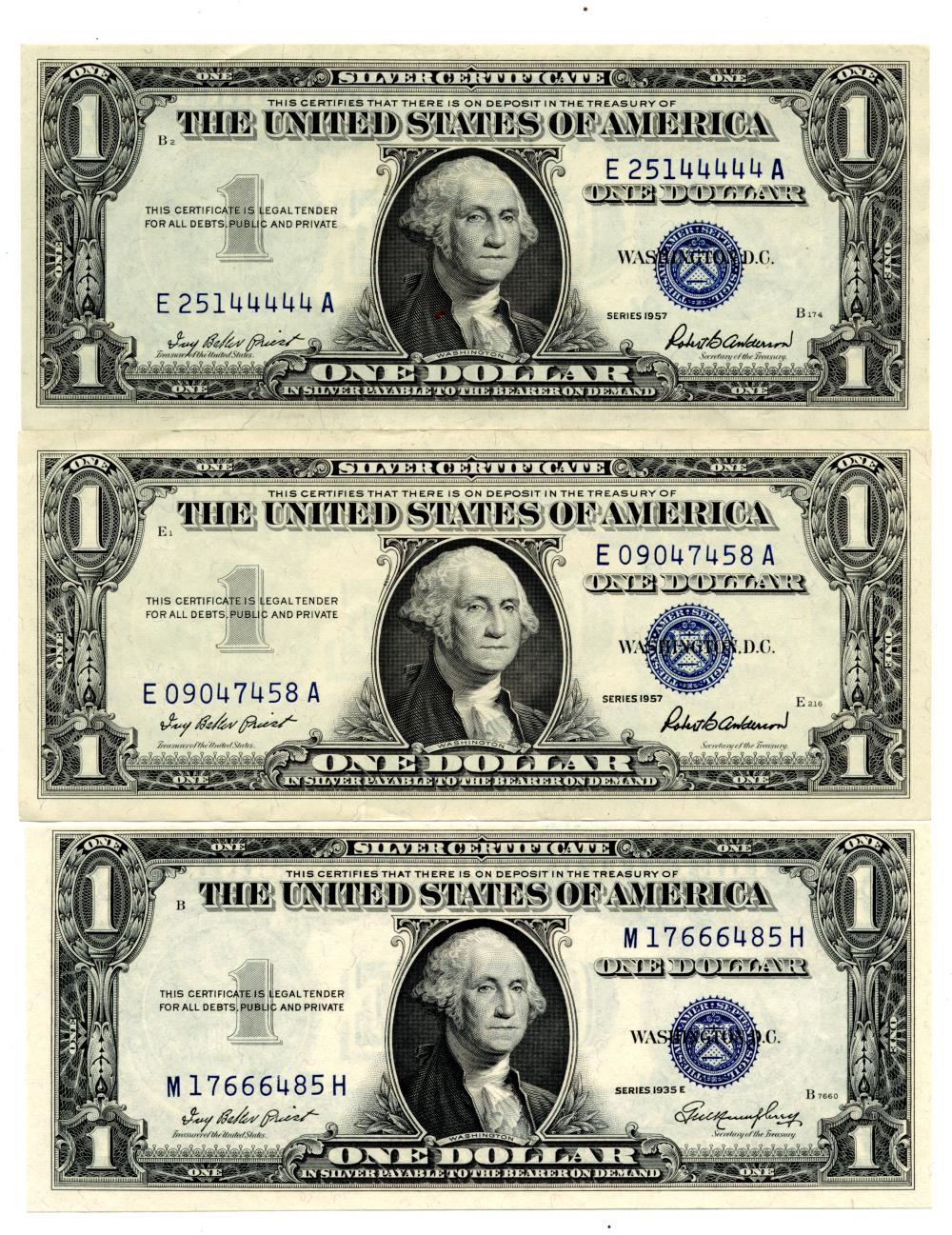 1935 E & 1957 $1.00 Silver Certificate Notes