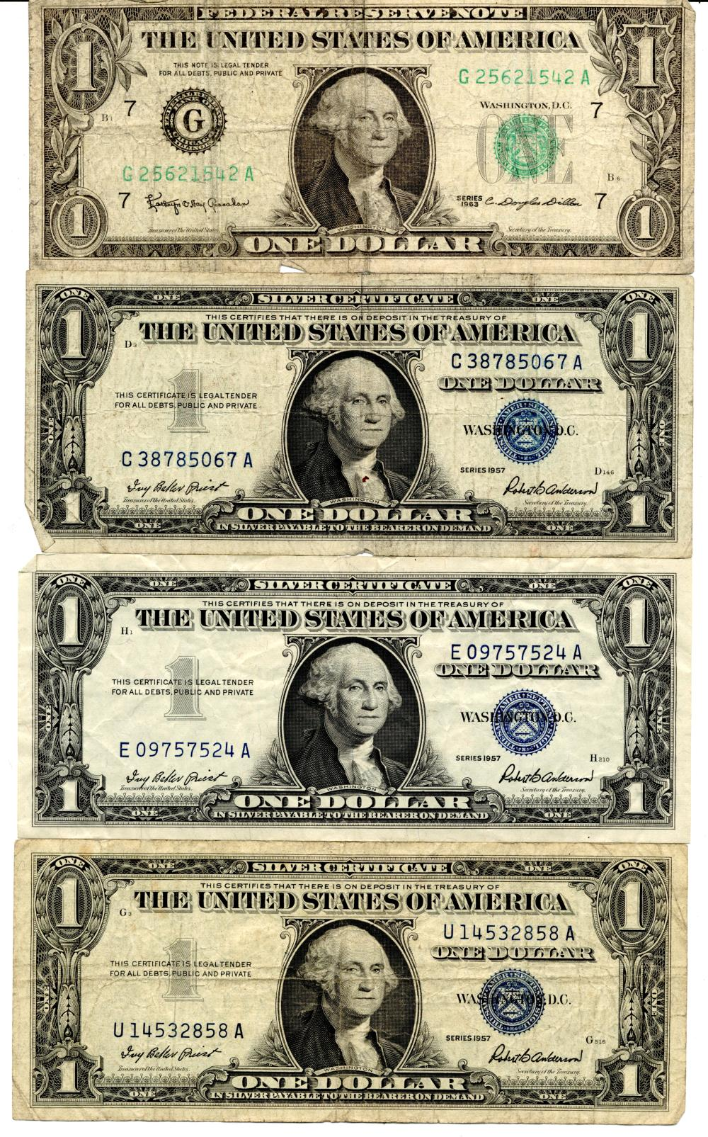 1957 & 1963 $1.00 Silver Certificate And FRN Error Note