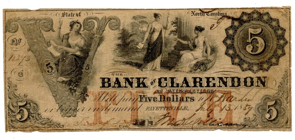 1857 $5.00 Bank Of Clarendon At Fayetteville N.C. Note