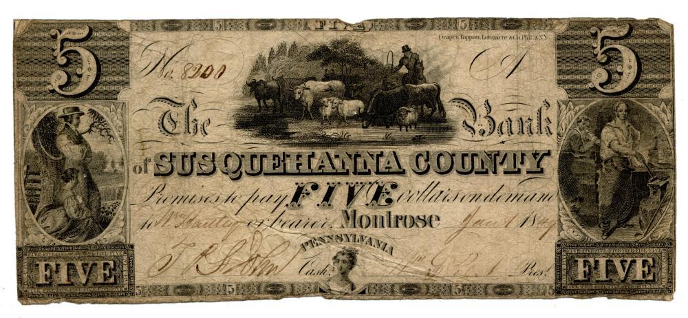 1849 $5.00 The Bank Of Susquehanna County Montrose Pennsylvania Note