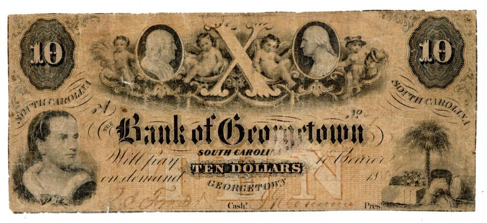 1857 $10.00 Bank Of Georgetown South Carolina Note