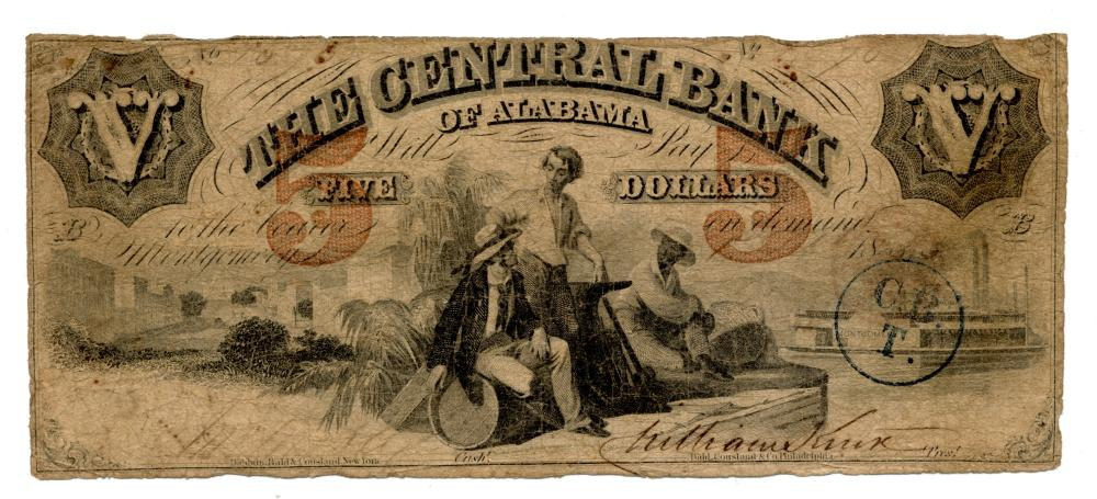 1855 $5.00 The Central Bank Of Alabama Note