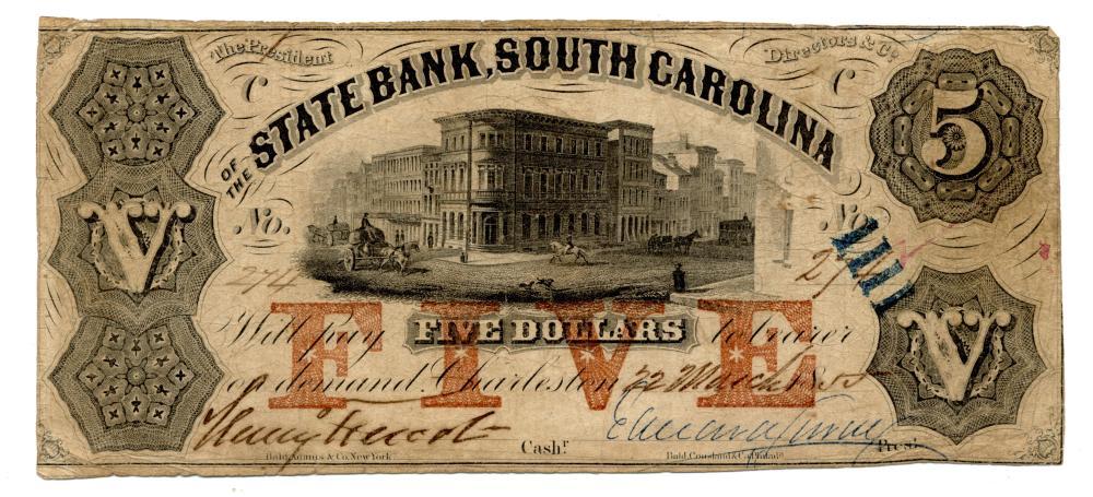 1855 $5.00 The State Bank South Carolina Charleston Note