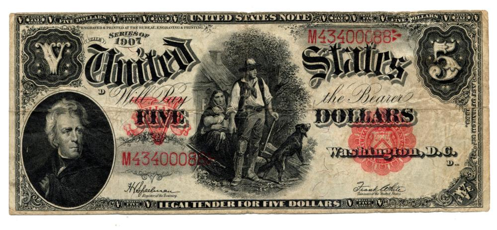 1907 $5.00 U.S. Legal Tender Woodchopper Currency Note